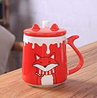 カップ プレゼント 雑貨 セラミックカップ初期かわいい漫画フォックス動物セラミックスコーヒーカップでカバーティースプーンティーカップミルクティーマグ