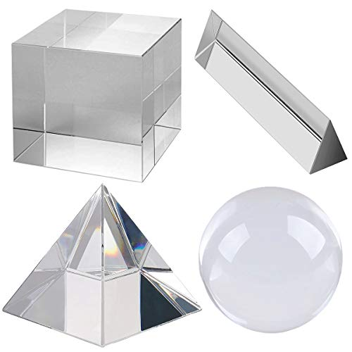 Optical Crystal Prism Photography Set 4 Pack K9 Glass Prisms for Science - 50mm Photography Ball - 50mm Dichroic Prism Cube - 50mm Triangular Prism - 60mm Optical Pyramid with Gift Box& Wipe Cloth