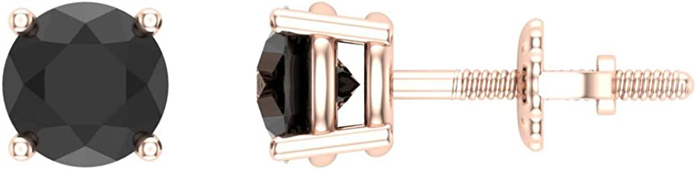 Black Diamond Regular discount Earrings for Online limited product stu cut Round women-girls-men