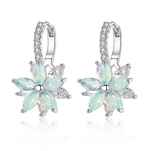 Pendientes mujer Pendientes plata con flor Cubic Zirconia Crystal Clip en pendientes para mujeres niñas Pendientes de circón 3A damas elegantes pendientes (blue)