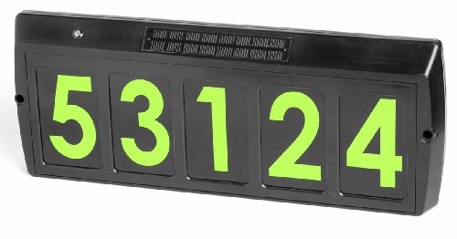 Gama Sonic 88004 Solar Powered Illuminated 5-Character Customizable Address Sign, Green LED, Black