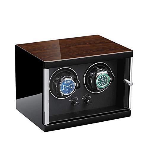 N\C Enrollador de Reloj Doble para Relojes automáticos Ajuste de 5 Modos de rotación Diseño antimagnético de Cuero de Fibra de Carbono con Almohadas de Reloj Suaves y Flexibles Reloj automático para