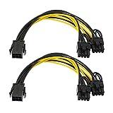 Adaptador de alimentación PCIe Express de 6 pines hembra a doble de 8 pines (6 + 2) macho de 6 pines a 2 x 6P para cable de alimentación de tarjeta gráfica de 20 cm