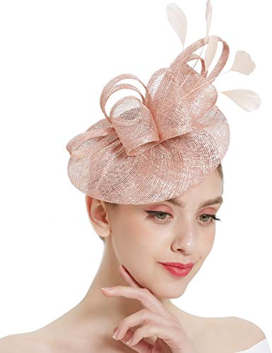 Coucoland Fascinators Hut Damen Elegant Gerollt Still Feder Fascinator Haarreif für Hochzeit Cocktail Tee Party Derby Haar Kopf Accessoires Damen Karneval Fasching Kostüm Zubehör (Nude Pink)