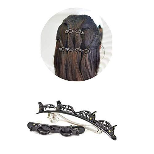 Doppeltes Haarband mit Clips, geflochtene Haarnadeln, für Locken-Styling, Haar-Clips, Stirnband mit Krokodilklemme, koreanischer Stil, modisches Mädchen geflochtenes Haar