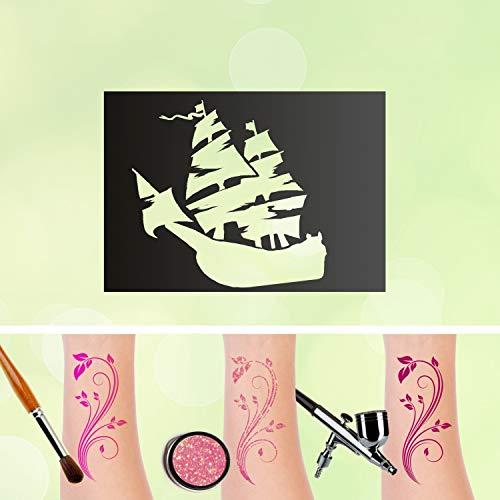 Tattoo Schablone Piratenschiff Glitzertattoos Selbstklebend Kinder Schminken Airbrush Piraten Größe 30 Stk