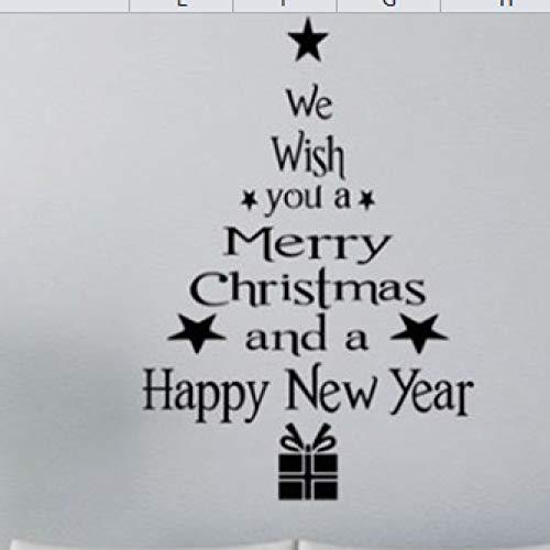 JXFM Weihnachtsbaum weiß rot optional Schlafzimmer Hintergrund Wand Außenhandel Gerüchte Wandsticker englisches Gedicht 38,5x28,5cm