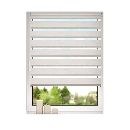 DESWIN Doppelrollo Klemmfix, Duo Rollos ohne Bohren für Fenster & türen 70 x 230 cm LEINEN - (KlemmFix Duorollo mit Kettenzug, Klemmhaltern, Haltern zum Schrauben)