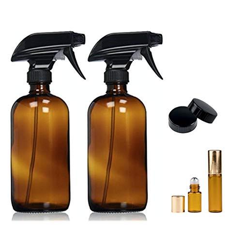YCOO - 2 Unidades de 250 ML de Botellas de Cristal ámbar con pulverizador de Agua y dispensador de Botellas de Aceite