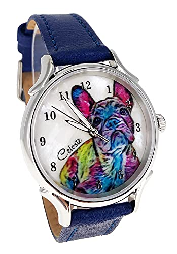 Celeste Frenchie French Bulldog Dog Pet Swiss Quartz Watch Multicolor 35mm Mother of Pearl Rainbow Art Dial Blue Vegetable Tanned Leather Strap