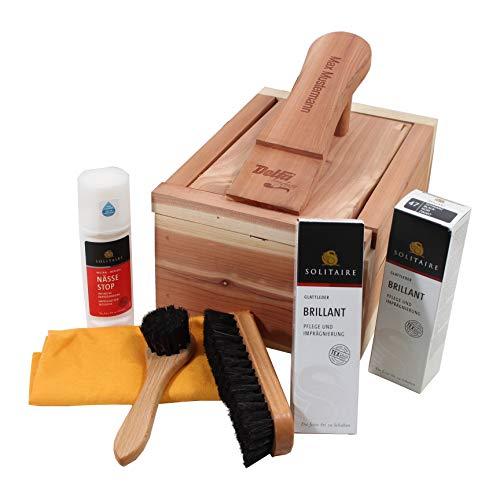 Delfa Delfa Schuhpflege Kiste aus Zedernholz mit Laserung Name/Wunschtext, jetzt neu mit Solitaire Pflegemitteln