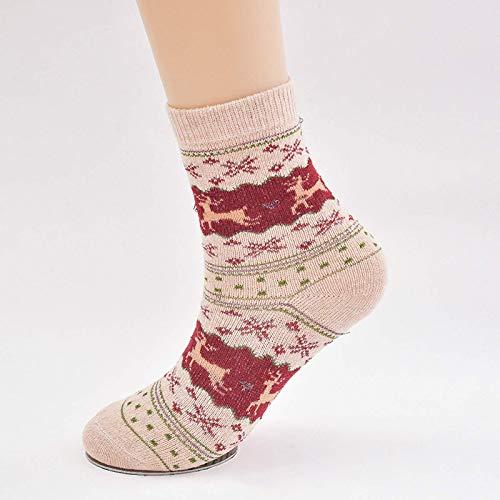Calcetines Retro 6 pares de calcetines de felpa Calcetines navideños de lana de animales estampados bordados Se pueden usar 5 estilos para la ropa de vacaciones