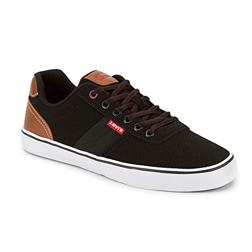 Levi's Mens Miles Perf PU NB Contrast Trim Casual Sneaker Shoe, Black/Burgundy, 10 M