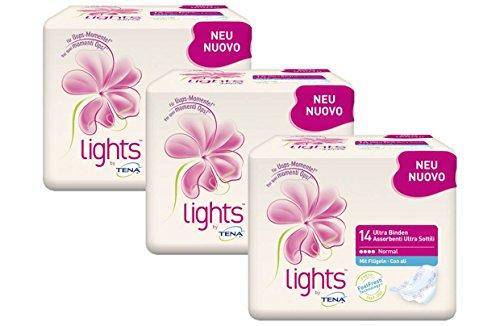 lights by TENA Ultra Binden Normal – Flügelbinden für Frauen mit sensibler Blase, sicherer Sitz dank Flügeln & diskrete Passform, Vorteilspack (3 x 14 Stück)