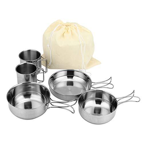 Mabor Kit de utensilios de cocina para camping de acero inoxidable, ollas de picnic para acampar al aire libre, senderismo, picnic, barbacoas, ollas de camping plegables