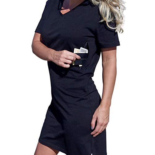 Woman's Pickpocket Proof T-Shirt Dress with 2 Secret Zipper Pockets, Smart Choice for Perfect Holiday Tours (X-Large, Black)