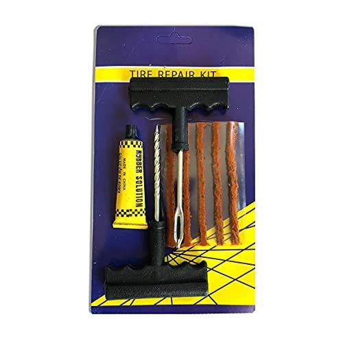 Neybra Kit de Reparación de Neumáticos - Kit Antipinchazos para Todo Tipo de Neumáticos - 5 Tiras Antipinchazos Coche - Moto - MTB - 1 Adhesivo - 1 Herramienta en Espiral y 1 Herramienta de Inserción