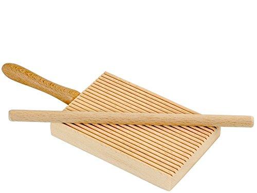 ELETTRO CENTER Item 298 Ridged Gnocchi Board and Garganelli Pasta Rod, madera, beige