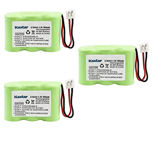 Kastar 3-PACK Ni-MH Rechargeable Battery Compatible with Vtech IA5870 IA5882 GZ2334 GZ2434 GZ2436 GZ2437 GZ2439 GZ2456 GZ2459, AT&T 2422 80-5074-00-00 Lucent 2422 Sanik 3SN-2/3AA30-S-J1 Cordless Phone