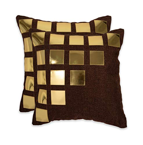 NEHA HANDICRAFTS Fundas De Cojín De Sofá De Diseño De Caja Cuadrada De Cuero Dorado Decorativo De 2 Piezas De Tela De Yute - 16'X 16', Marrón Oscuro