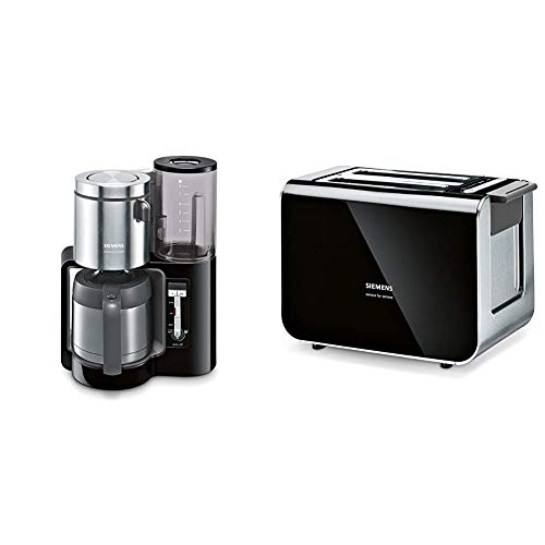Siemens TC86503 Kaffeemaschine (1100 Watt, optimales Kaffeearoma, Timer-Funktion, abnehmbarer Wassertank) schwarz & TT86103 Toaster / 860 Watt / für 2 Scheiben / wärmeisoliertes Gehäuse / schwarz