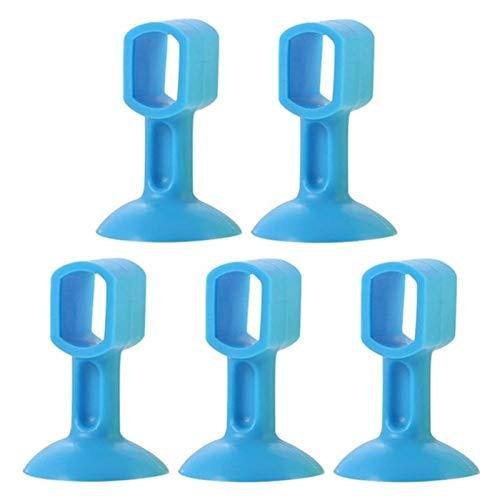 YYLL Topes Tapón de la Puerta de 5 unids, Protector a Prueba de Impacto de Silicona, Taza de succión tapón montado en la Pared Baño Boor Boor Anti-Collision Puerta Succión (Color : Blue)