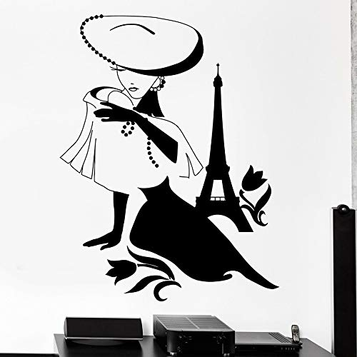 Moda mujer pared calcomanía París Francia torre chica flor vinilo ventana calcomanía dormitorio ropa interior de tienda Art Deco