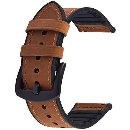 GerbGorb Silikon Leder Uhrarmband 20mm 22mm, 5 Farben Schnellverschluss Leder Uhr Armbänder für Männer und Frauen, Braun/22MM