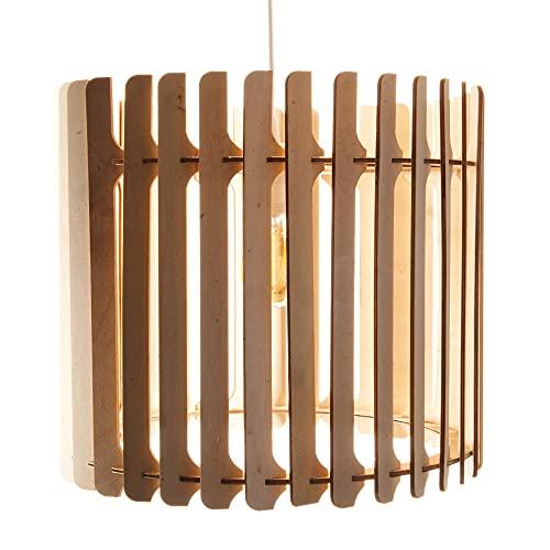 Opis PL2 - Lámpara de techo fabricada en madera marrón y compuesta de piezas curvas y elegantes