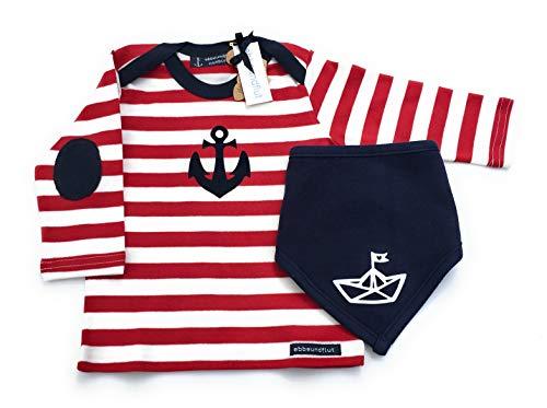 Maritimes Set Langarmshirt Anker & Tuch Papierschiffchen in rot/weiß/blau - fair - Geschenk zur Geburt, Babyset von ebbeundflut
