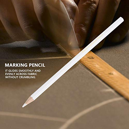 Delaman 12pcs Tailors Chalk Pencil, Water Soluble Pencil White Sewing Marking Pencil, Dressmaker Practical Tool
