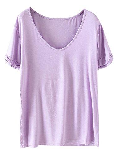 SheIn Women's Summer Short Sleeve Loose Casual Tee T-Shirt Light Purple Large