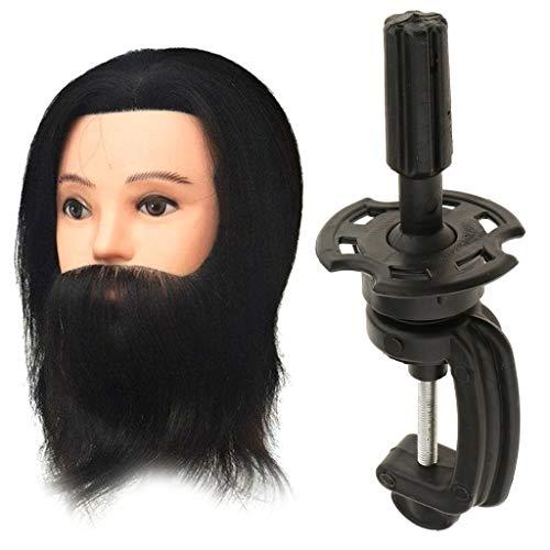 MagiDeal Tête d'Exercice Professionnel Vrais Cheveux avec Barbe/Têtes d'Exercice Coiffure 12 pouces avec Pince de Support