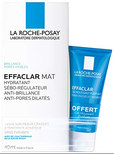 La Roche-Posay Effaclar Mat Seboregulating Moisturiser 40ml + Effaclar Purifying Foaming Gel 50ml Free