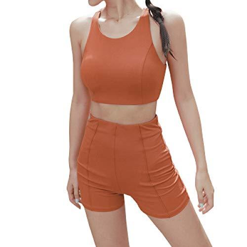 Pantalones Cortos para Mujer Verano Nuevos Trajes Deportivos Chaleco Cruzado Running Fitness Show Pantalones Cortos de Cadera Traje de Secado rápido L