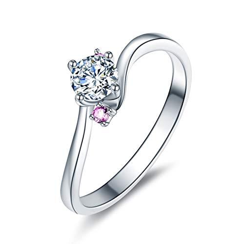 Ubestlove Solitär Ring Weißgold Wellenlinien Freundschaftsringe Paar 0.3Ct Diamant Ringe Größe 50