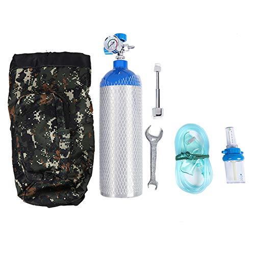 Lecxin Cilindro de oxígeno, Botella de Cilindro de Tanque de oxígeno portátil Profesional de 2L con Mochila para el hogar al Aire Libre