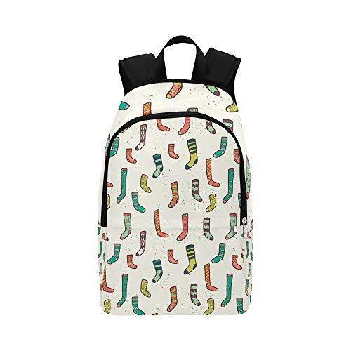 ZXWXNLA Best Daypack Colorful Sock Pattern Seamless Durable Water Resistant Classic Comestic Travel Bag Cute Sports Bag Day Hike Backpack Bags College