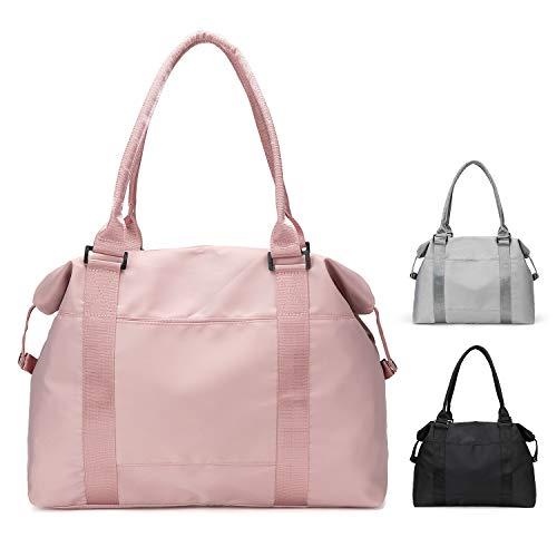 FEDUAN original leichte Reisetasche Sporttasche Kliniktasche Shopping-Bag Weekender Handgepäck faltbar wasserfest Handtasche Einkaufstasche Freizeit-Tasche Damen Einkaufen rosa pink Altrosa