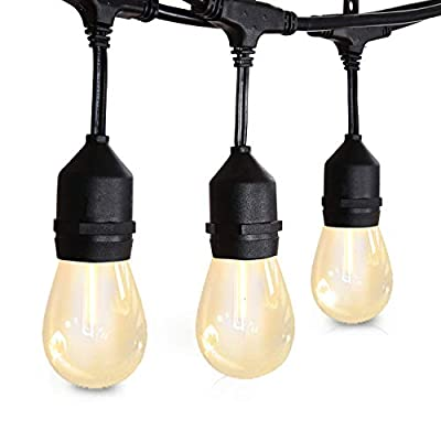 Amico 48FT LED Outdoor String Lights - Weatherproof Vintage Dimmable Edison Plastic Bulbs with 15 Sockets – Commercial Grade Patio Café Porch Market Backyard Hanging Lights