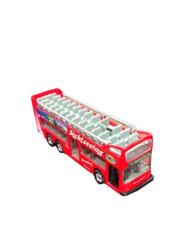 Die Cast Metal 6' NYC Sightseeing City Tour Red Double Bus Pull Back Action