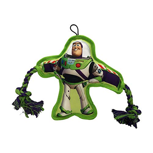 Disney Toy Story 4 Dog Toy - Buzz Lightyear Rope Squeaker - Interactive Dog Toy