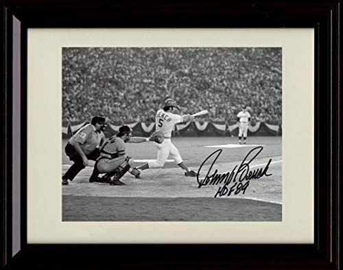 Framed Johnny Bench - at Bat with HOF Black and White - Autograph Replica Print