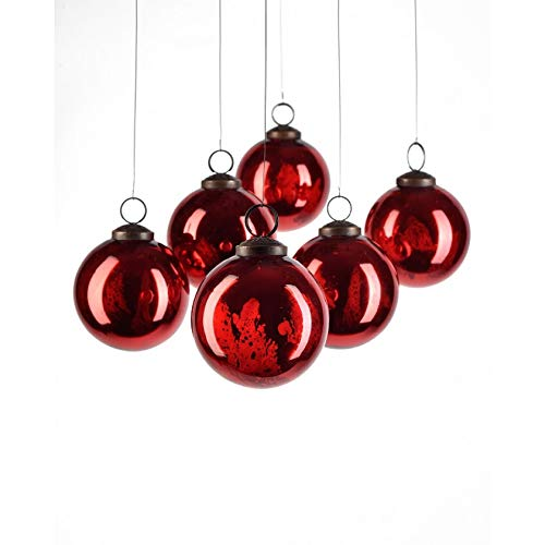 Serene Spaces Living Set of 6 Antique Red Glass Balls, Hanging Ornaments for Holiday Décor, Measures 3 Diameter