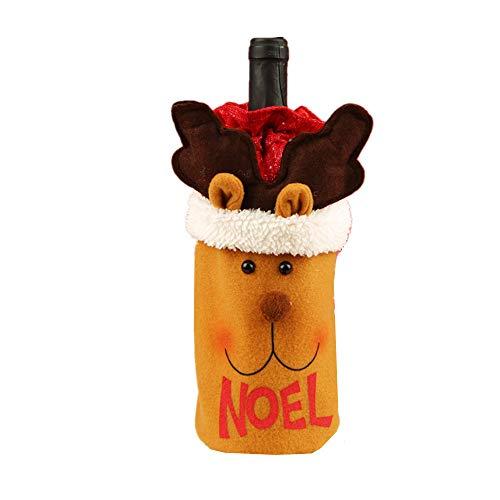 JYSPT Weinflaschenbezug mit Schneemann, Weihnachtsmann, Bier, Weinflasche, Dekoration reh/hirsch