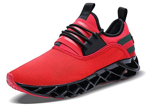 Acreat Herren Laufschuhe Fitness straßenlaufschuhe Sneaker Sportschuhe atmungsaktiv rutschfeste Mode Freizeitschuhe, 2-rot, 42 EU
