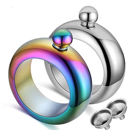 Bracelet Flask Bangle Flask Creative Stainless 304 Steeland Hip Flask Funnel Set for Women 3.5 oz. 2 pcs (Sliver & Rainbow)