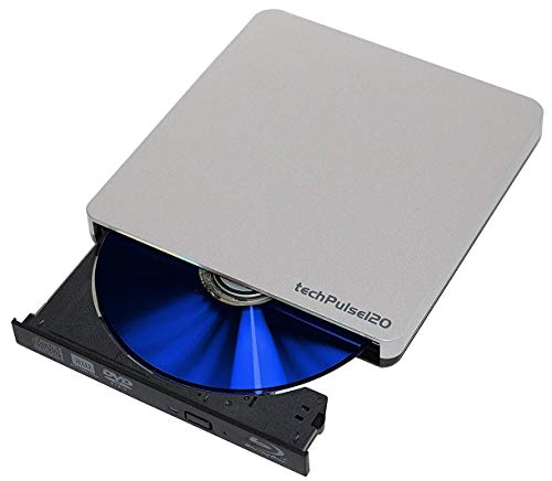 techPulse120 USB 3.0 3D Externer Blu-Ray Brenner Burner Portable Superdrive Blueray Rom Laufwerk BD DVD CD Slim für Computer Notebook Ultrabook Windows MacOS Apple iMac MacBook Pro Silber