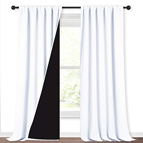 NICETOWN White 100% Truly Blackout Curtains, Rod Pocket Super Heavy-Duty Black Lined Total Darkness Drapes for Hall, Privacy Window Treatment Curtains for Patio (2 PCs, 52-inch W x 108-inch L)