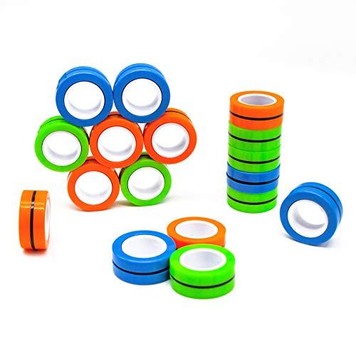 Kicko Magnetic Fidget Rings - 6 Pack - Neon Blue, Green, Orange - Magic Spinning Sensory Toys for...